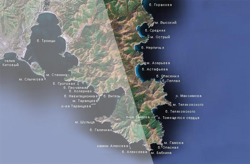Спутниковая карта района п-ва Гамова (восточная часть)